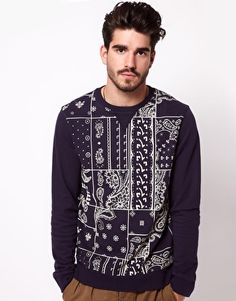Enlarge ASOS Sweatshirt With Patchwork Bandana Print