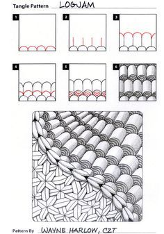 Online instructions for drawing CZT® Wayne Harlow's Zentangle® pattern: Logjam. Zentangle Drawings, Doodles Zentangles, Zentangle Patterns, Doodle Drawings, Doodle Art, How To Zentangle, Zentangle Pens, Zen Doodle Patterns, Tangle Doodle
