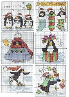 Cross-stitch Christmas Penguins... no color chart available, just use pattern chart as your color guide.. or choose your own colors...