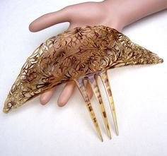 Faux tortoiseshell celluloid Art Deco Spanish comb headpiece headdress hair ornament decorative comb