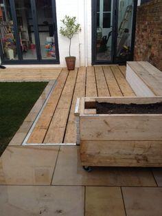 scaffold board for decking Slate Paving, Granite Paving, Sleepers In Garden, Garden Cabins, Hardwood Decking, Scaffold Boards, Garden Angels, Scaffolding, Dream Bathrooms