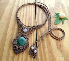 Moss agate macrame necklace macrame jewelry rose by SelinofosArt                                                                                                                                                                                 More
