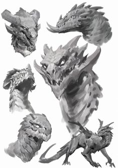 Dragon sketches works, Qichao Wang - Among Gods - Kathrin Monster Art, Monster Concept Art, Monster Design, Creature Concept Art, Creature Design, Dragon Anatomy, Dragons, Dragon Sketch, Dragon Artwork