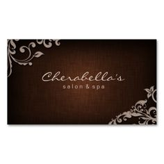 Linen Salon Spa Floral Business Card Brown Beige. Make your own business card with this great design. All you need is to add your info to this template. Click the image to try it out!