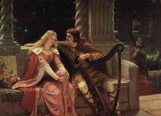 """""""Tristan et Iseult"""" - Edmund Blair Leighton Tristan Und Isolde, Courtly Love, Pre Raphaelite, Classical Art, Renaissance Art, Stretched Canvas Prints, Beautiful Paintings, Oeuvre D'art, Art History"""