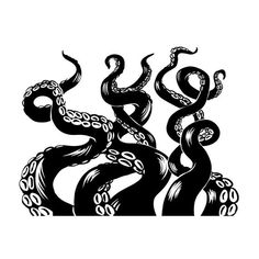 Octopus Tentacles - Black and White Sizes Art Prints, Giclees, Posters, Wood & Metal Signs, Tote White Art, Black And White, White Wood, Octopus Drawing, White Lanterns, Black Lantern, Vivid Imagery, Free Canvas, Stock Art