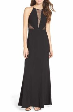 Aidan by Aidan Mattox Crepe & Lace Halter Style Gown