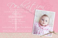 Pink Baby Girl Christening Baptism Dedication Photo Invitation