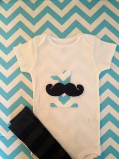 1st Birthday Boy Outfit with Mustache Onesie and Leg Warmers - Trendy Aqua/White Chevron Print - White Onesie SZ 9, 12,18 and 24 months. $28.00, via Etsy.