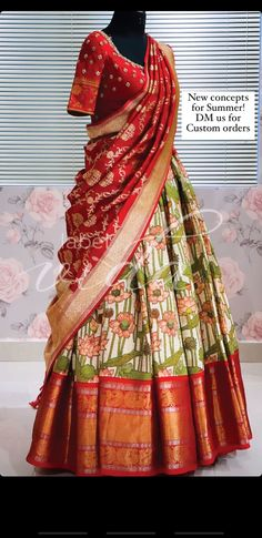 New Saree Designs, Wedding Saree Blouse Designs, Choli Designs, Indian Gowns Dresses, Indian Bridal Outfits, Indian Designer Outfits, Half Saree Lehenga, Lehenga Saree Design, Half Saree Function