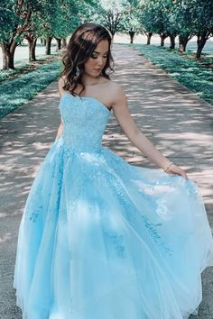 Elegant Strapless Light Blue Tulle Appliques Prom Dress, Long Evening Dress T1813