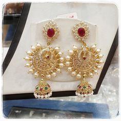 Gold Pearl Chandbali Earrings, Gold Chandbali Jhumka Earrings, 22K Gold Chandbali Earrings Collections.