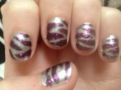 Silver nails with purple sparkle zebra!!