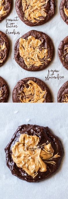 These vegan brookies (brownie and cookie) with a peanut butter swirl are to die for!