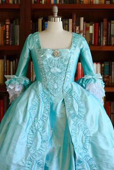 The Marie Antoinette Gown Custom Century Sack-Back 18th Century Dress, 18th Century Costume, 18th Century Clothing, 18th Century Fashion, Rococo Fashion, Victorian Fashion, Vintage Fashion, Marie Antoinette, Mode Rococo