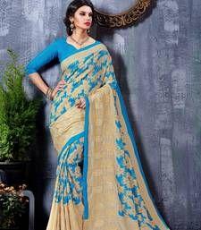 Buy Blue printed art silk saree with blouse tussar-silk-saree online