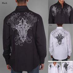 Men's 100% Cotton Fashion Casual Dress Shirt With Embroidered Design #MilanoModa #Western