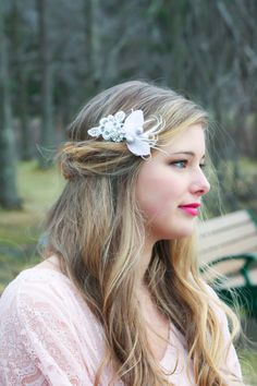 bridal headpiece bridal feather hair clip by serenitycrystal, $26.00