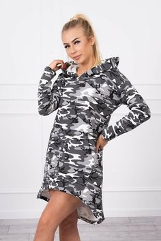 Rochie asimetrica stil militar gri cu negru Cold Shoulder Dress, Sport, Dresses, Products, Fashion, Military, Vestidos, Moda, Deporte