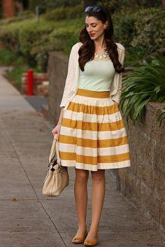 eShakti colorblock skirt with mint tank and necklace.    #stripes #mustart #mint