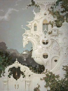 Art Nouveau Architecture, Futuristic Architecture, Beautiful Architecture, Beautiful Buildings, Art And Architecture, Beautiful Places, Fantasy World, Fantasy Art, Fantasy Landscape