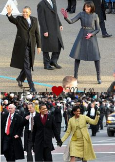 Then & Now... President Barack Obama With 1st Lady Michelle Obama Walking Down Pennsylvania Ave....  Inauguration Day....