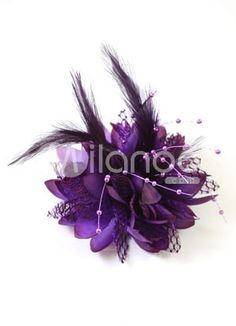 Purple Velour Feather Wedding Bridal Hair Flower