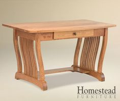 Royal Mission Pencil Desk. The focus is on the craftsmanship on this piece, making it a perfect fit for the craftsman mission style. This desk features one drawer in the center http://homesteadfurnitureonline.com/desks_royal-mission-pencil.html
