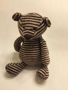 "Jellycat Bon Bon Bear Plush Soft Toy Brown Gray Stripe Stuffed Animal Teddy 10"" #jellycat"