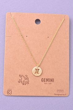 cdd32517702 Dainty Circle Coin Gemini Zodiac Symbol Necklace - Gold or Silver Dainty  Gold Necklace