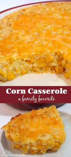 "Our Corn Casserole recipe is a family favorite Thanksgiving food side dish - thi. CLICK Image for full details Our Corn Casserole recipe is a family favorite Thanksgiving food side dish - this sweet-savory, corn bread "". Holiday Recipes, Great Recipes, Favorite Recipes, Holiday Foods, Recipe Ideas, Easy Corn Recipes, Healthy Recipes, Easy Potluck Recipes, Vegetarian Recipes"