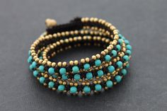 Turquoise Brass Wrap Bracelet by XtraVirgin on Etsy, $18.00            very nice! And price is so good!