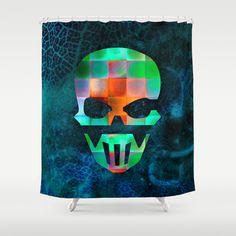CHECKED DESIGN II - SKULL Shower Curtain by Pia Schneider [atelier COLOUR-VISION] - $68.00 #skull #skullshape #geometric #squares #design #diamonds #pattern #mixedmedia #checked #colourful #karo #horror #collage #abstract #textures #piaschneider #ateliercolourvision #blue #green #orange #showercurtain #curtain #bathroom #home #decor