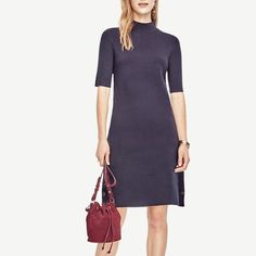 Rank & Style - Ann Taylor Side Button Sweater Dress #rankandstyle