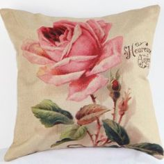 Good Quality Pink Rose Pattern Flax Pillow Case(Without Pillow Inner) (PINK) | Sammydress.com Mobile