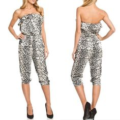 NWT ANIMAL PRINT FULL BODY SUIT It's  called The Wild Strapless Jumpsuit. The colors are Ivory, Black, & Gray. Now Available‼️ Details above in pictures. I have size S & M & L.  Bundle 2 or more listings for 15% off. ❌Firm unless bundled‼️❌NO Trades❌ ❌NO Paypal❌BELT NOT INCLUDED, SORRY 24/7 Frenzy Other