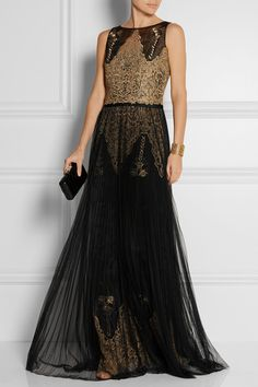 MARCHESA NOTTE Embroidered organza and pleated tulle gown
