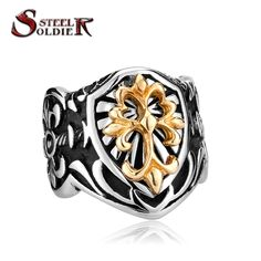 Steel soldier wholesale hot sale Gothic Men's High Quality Fashion Jewelry Stainless Steel Fleur De Lis BR8-078