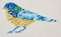 'Blue Bird'. Nicola Jarvis. Crewel Work ProjectKit. (Some experience necessary). 40cm x 35cm  Crewel wool on linen