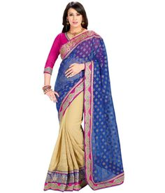 ROYAL BLUE AND BEIGE DESIGNER SAREE Fabric: #Brocade, #Georgette Code: SMR1004