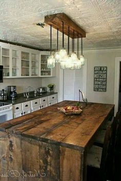 23 Shattering Beautiful DIY Rustic Lighting Fixtures to Pursue. 23 Shattering Beautiful DIY Rustic Lighting Fixtures to Pursue. Rustic Kitchen Lighting, Kitchen Lighting Design, Farmhouse Kitchen Island, Rustic Light Fixtures, Rustic Kitchen Design, Kitchen Lighting Fixtures, Kitchen Islands, Farmhouse Kitchens, Modern Farmhouse