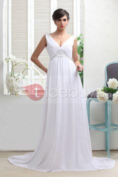 エンパイアラインディープVネック袖無バックレスコートトレーンウェディングドレス