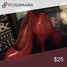 High heels Red peep toed platform pumps. Shoes Platforms