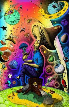 Trippy art drugs bongs 46 ideas for 2019 Paz Hippie, Hippie Trippy, Hippie Art, Mushroom Drawing, Mushroom Art, Fantasy Kunst, Fantasy Art, Psychedelic Art, Dope Kunst