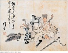 (Korea) A Scholar Playing the Pipa by Kim Hong-do (1745-1806). ca 18th century CE. Joseon Kingdom, Korea. colors on silk. Private collection. 포의풍류도.