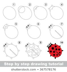 Find Red Ladybug Step By Step Drawing stock images in HD and millions of other royalty-free stock photos, illustrations and vectors in the Shutterstock collection. Thousands of new, high-quality pictures added every day. Drawing Lessons For Kids, Easy Drawings For Kids, Games For Kids, Art For Kids, Kid Games, Animal Drawings, Art Drawings, Illustrator, Directed Drawing