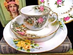 Antique German painted tea trio - Yellow and pink roses - Floral china teacup, saucer and plate - Tea cup
