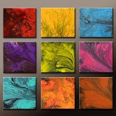 Abstract Canvas Art Painting Huge 9pc  36x36 Contemporary Original Wall Art Paintings by Destiny Womack -  dWo - The Realms