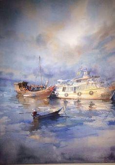 Watercolor landscape sea ocean water boats ships