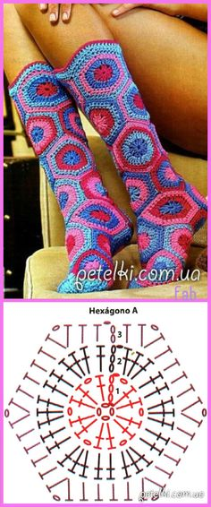 How to Crochet a Solid Granny Square - Crochet Ideas Crochet Hexagon Boot Slippers Free Pattern Crochet Chart, Easy Crochet Patterns, Love Crochet, Crochet Motif, Crochet Stitches, Tatting Patterns, Crochet Granny, Crochet Ideas, Crochet Slipper Boots
